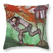 Fiery Seven Of Swords Illustrated Throw Pillow