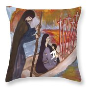 Fiery Six Of Swords Illustrated Throw Pillow