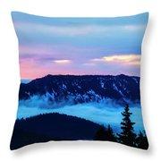 Fiery Sunrise From Mt. Hood Throw Pillow