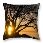 Fiery Sunrise - Like A Golden Portal To Another World Throw Pillow