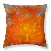 Fiery Sunset Abstract Painting Throw Pillow by Julia Apostolova