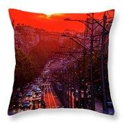 Fiery Sunset In Belgrade Belgradehenge Throw Pillow