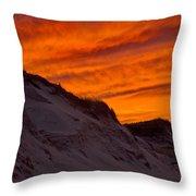 Fiery Sunset Over The Dunes Throw Pillow