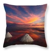 Fiery Sunset Over The Salar De Uyuni Throw Pillow