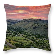 Fiery Sunset Panorama Over Davis Mountains State Park - Keesey Canyon Blue Mountain Limpia Canyon - Throw Pillow