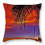 Fiery Sunset With Palm Tree Throw Pillow