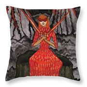 Fiery Two Of Swords Illustrated Throw Pillow