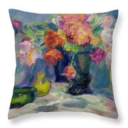 Fiesta Of Flowers - Vibrant Original Impressionist Oil Painting Throw Pillow