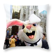 Fifth Ave Easter Bunny Throw Pillow