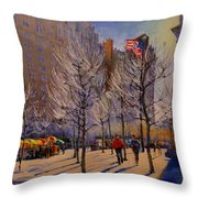 Fifth Avenue - Late Winter At The Met Throw Pillow