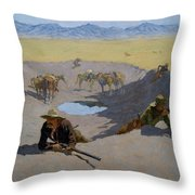 Fight For The Waterhole Throw Pillow