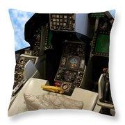 Fighter Jet Cockpit 01 Throw Pillow