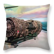 Fighter Jet Engine Throw Pillow