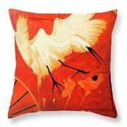 Fighting Crane 1  Throw Pillow