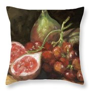 Figs And Grapes Throw Pillow