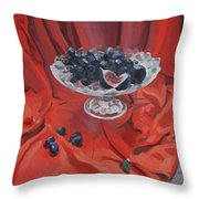 Figs And Grapes On Red  Throw Pillow