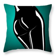 Figure In Teal Throw Pillow
