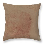 Figure Sketches And A Copy After A Sculpted Head [verso] Throw Pillow