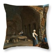 Figures At The Cave Of Egeria Throw Pillow