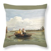 Figures In A Boat On The Thames, Gravesend Throw Pillow