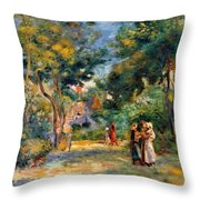 Figures In A Garden Throw Pillow