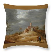 Figures In A Landscape With A Castle Beyond Throw Pillow