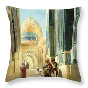 Figures In A Street Before A Mosque Throw Pillow