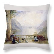 Figures On A Balcony Throw Pillow