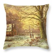 Figures On A Path Before A Village In Winter Throw Pillow