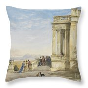 Figures On A Terrace With Greyhounds Throw Pillow