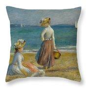 Figures On The Beach, 1890 Throw Pillow