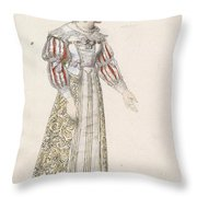 Figurine In Medieval Dress, Throw Pillow