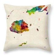 Fiji Watercolor Map Throw Pillow