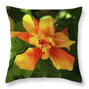 Fijian Hibiscus Abstract In Del Mar 1 Throw Pillow