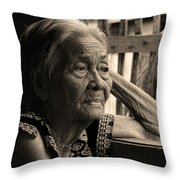 Filipino Lola Image Number 33 In Black And White Sepia Throw Pillow