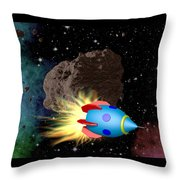 Film Frame With Asteroid And Rocket Throw Pillow