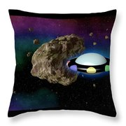 Film Frame With Asteroid And Ufo Throw Pillow