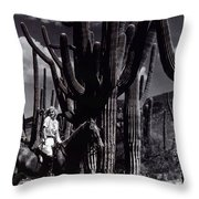 Film Homage Jean Harlow Bombshell 1933 Saguaro National Monument Tucson  Arizona  Duo-tone 2008 Throw Pillow