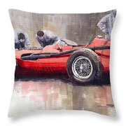 Final Check Before The Start Maserati 250 F 1957 Throw Pillow