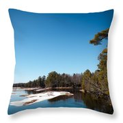 Final Winter Days On The Moose River Throw Pillow