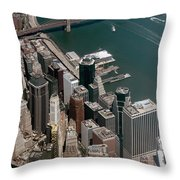 Financial District Nyc Aerial Photo Throw Pillow