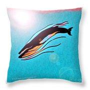 Finback Diving Through Krill Throw Pillow
