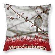 Finch Christmas Throw Pillow