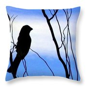 Finch Silhouette 1 Throw Pillow