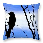 Finch Silhouette 2 Throw Pillow
