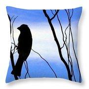 Finch Silhouette 2 Throw Pillow