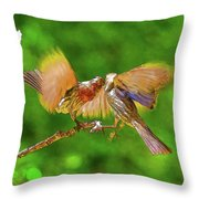 Finches In Motion I  Throw Pillow