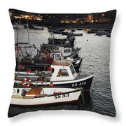 Fine Art- Boats St Ives Harbour Throw Pillow