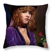 Fine Art Digital Portrait Stevie Nicks Crescent Moon Top Hat Throw Pillow