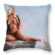 Fine Art Female Nude Jennie As Seanympth Goddess Multimedia Painting Throw Pillow